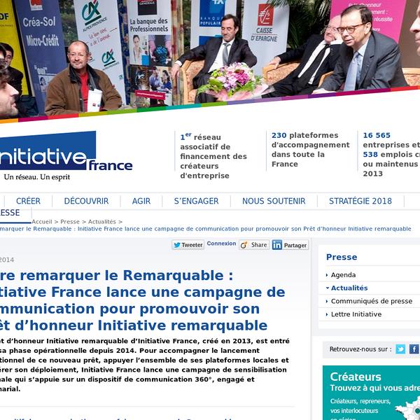 Initiative France communique sur son Prêt d''honneur Initiative
