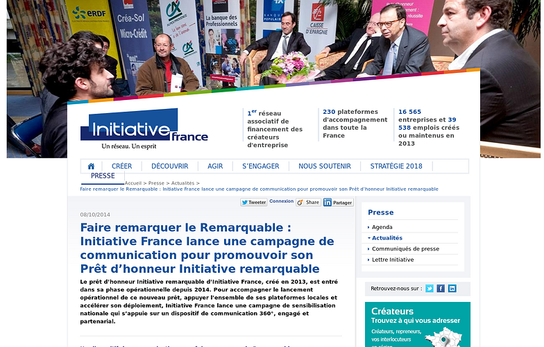 Initiative France communique sur son Prêt d''honneur Initiative 0