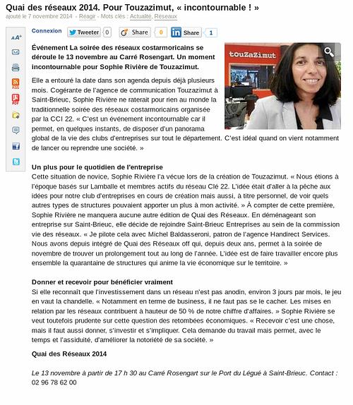 Journal des Entreprises: Touzazimut et les réseaux 0