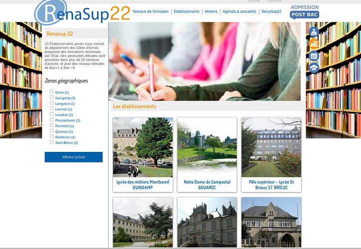 Site Internet de Renasup 22 - enseignement catholique post bac rena3