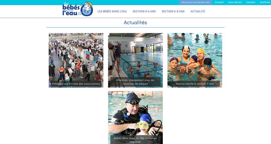 Site Internet de l''association Les Bébés dans l''Eau - Saint-Brieuc bbdsleau2