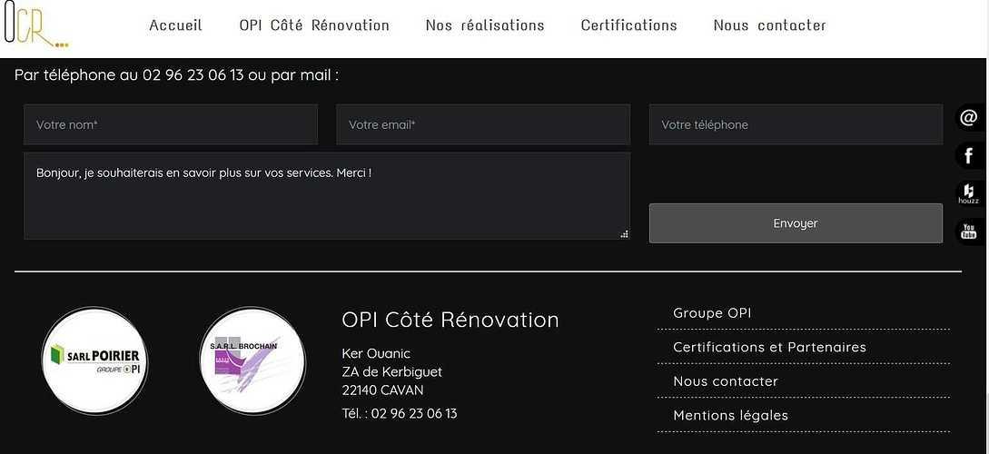 Création Site de OPI Côté Rénovation - Cavan - Côtes d''Armor (Bretagne) opi3