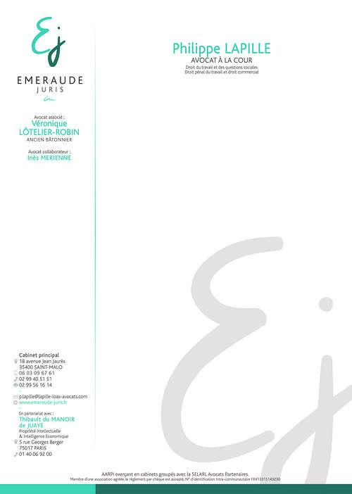 Création charte graphique Cabinet d''avocat - Saint-Malo (35) ejtetedelettrelapille