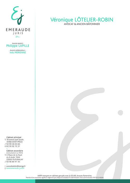 Création charte graphique Cabinet d''avocat - Saint-Malo (35) ejtetedelettrelotelierrobin